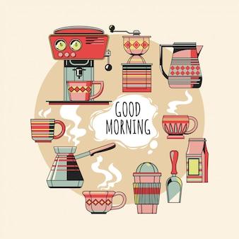 Conjunto vintage de objetos de café significa equipo de café