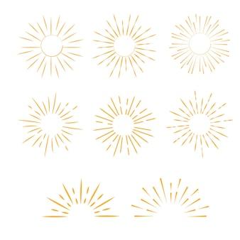 Conjunto de vintage sun burst. rayos de luz monocromáticos de vector