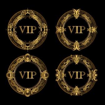 Conjunto de vip marco de oro de lujo