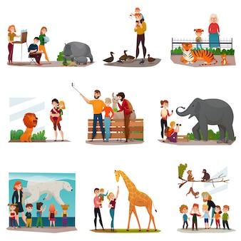 Conjunto de visitantes del zoológico