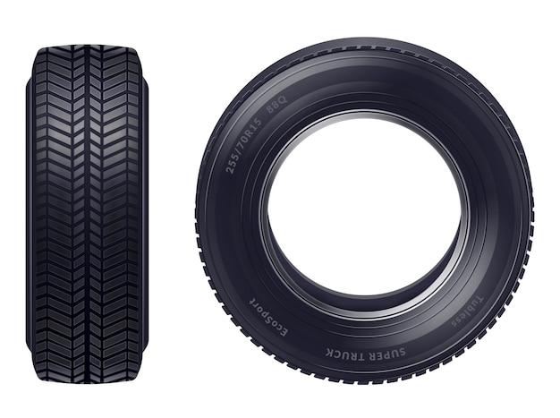 Conjunto de vista frontal y de perfil de neumáticos de automóvil nuevos realistas aislados sobre ilustración de fondo blanco