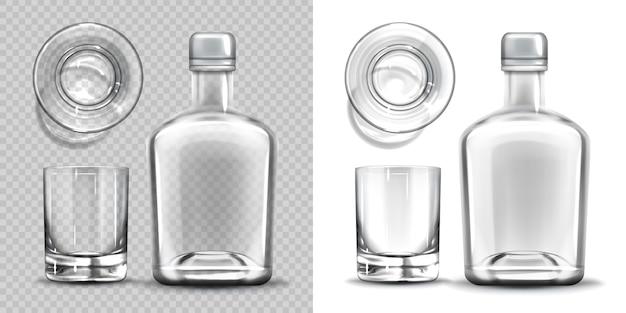 Conjunto de vista lateral y superior de botella vacía y vaso de chupito.