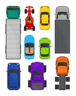 Conjunto de vista superior de automóviles y camiones, ciudad y carga entregando transporte, vehículos para transporte ilustración