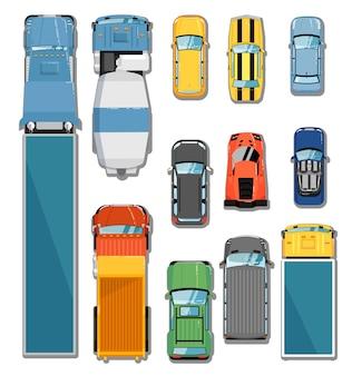 Conjunto de vista superior de automóviles y camiones