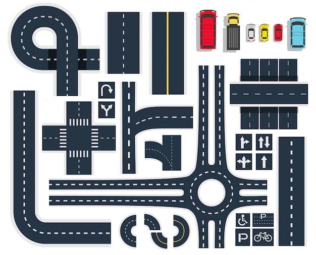 Conjunto de vista superior de carreteras de tráfico
