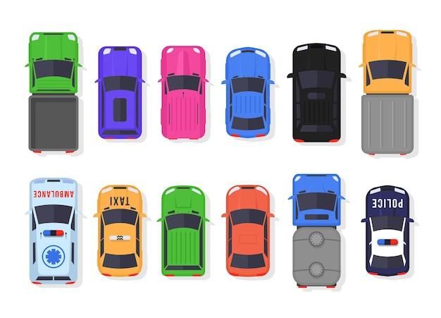 Conjunto de vista superior de coches y camiones en estilo plano. circulación de vehículos en la ciudad y servicio de transporte. diseño de coche realista aislado.