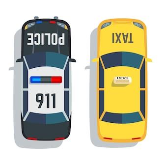Conjunto de vista superior de coches de policía y taxi