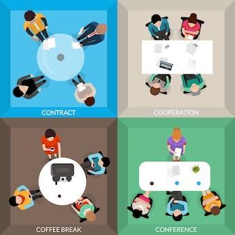 Conjunto de vista superior de comunicaciones de negocios