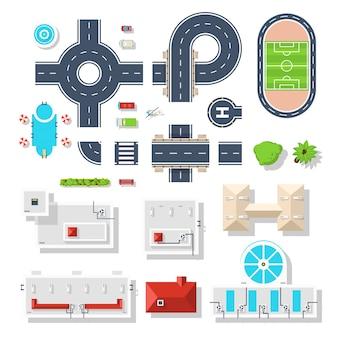 Conjunto de vista superior de elemento de ciudad