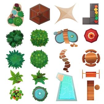 Conjunto de vista superior de elementos de paisaje
