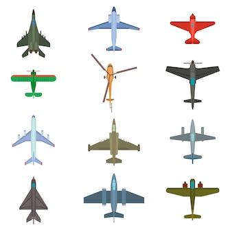 Conjunto de vista superior de llanuras de avión