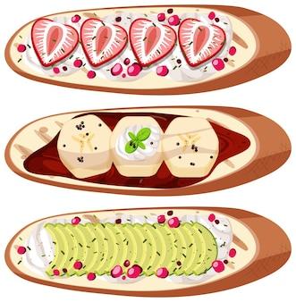 Conjunto de vista superior de pan con fruta aislado