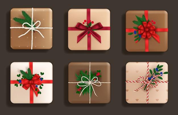 Conjunto de vista superior de regalos realistas