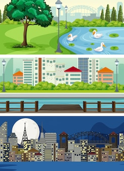 Conjunto de vista urbana