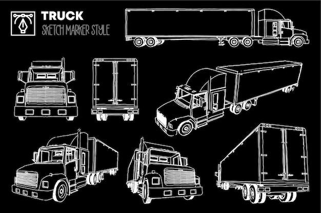 Conjunto de vistas de camiones. dibujos con efecto rotulador. siluetas editables.