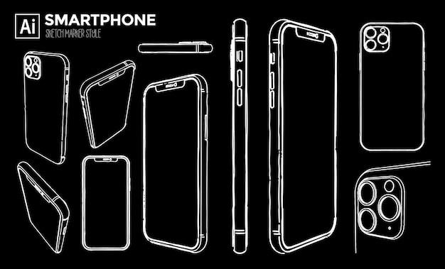 Conjunto de vistas de teléfonos inteligentes. dibujos con efecto marcador. color editable