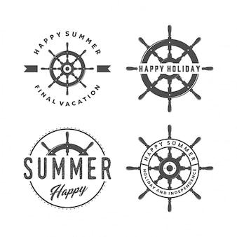 Conjunto de volante de barco y logo de verano.