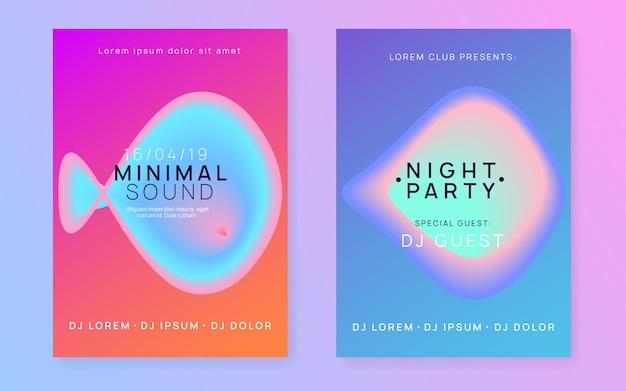Conjunto de volante de música. diseño de banner de concierto indie femenino. línea y forma de degradado holográfico fluido. sonido electronico.