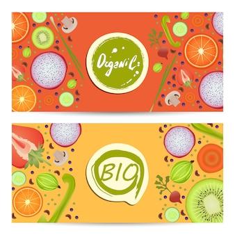 Conjunto de volantes horizontales de alimentos orgánicos