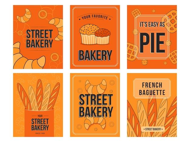 Conjunto de volantes para hornear. croissants, muffins, ilustraciones de panes con texto sobre fondo naranja.