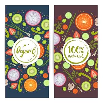 Conjunto de volantes verticales de alimentos orgánicos