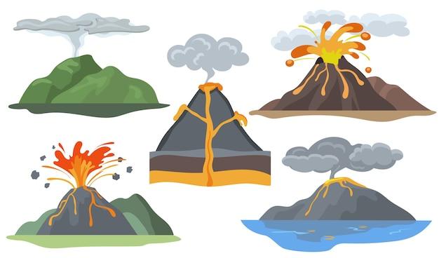 Conjunto de volcanes en explosión. paisaje con erupción de magma, lava, fuego, humo y ceniza.