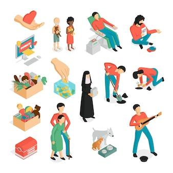 Conjunto de voluntarios de donación de caridad isométrica de imágenes aisladas personajes humanos e iconos de pictogramas
