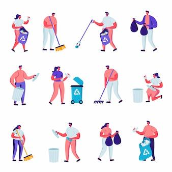 Conjunto de voluntarios planos recogen personajes de basura