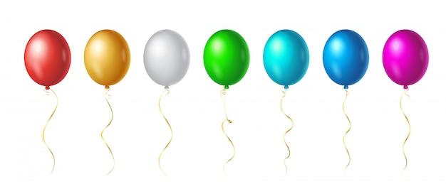 Conjunto de vuelo hasta globos de helio de color arco iris sobre fondo blanco. elementos de diseño colorido realista en rojo, blanco, dorado, verde, azul, rosa.