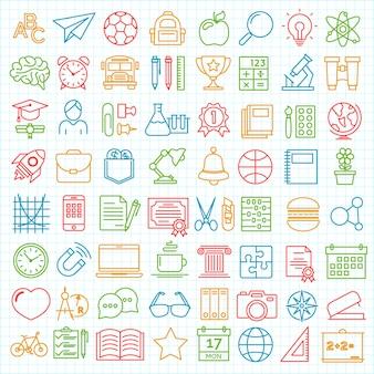 Conjunto de vuelta a la escuela y la educación moderna iconos de líneas finas