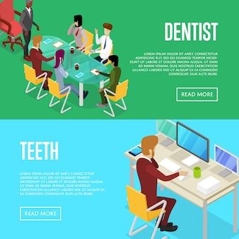 Conjunto de web de banner 3d isométrico de vida de oficina corporativa