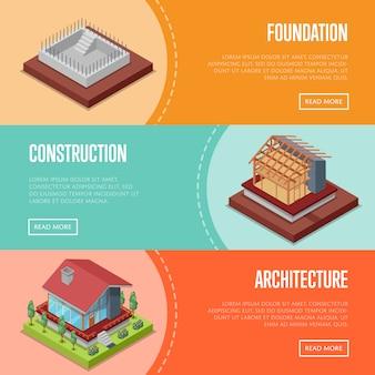 Conjunto de web de banner de construcción de casa de campo