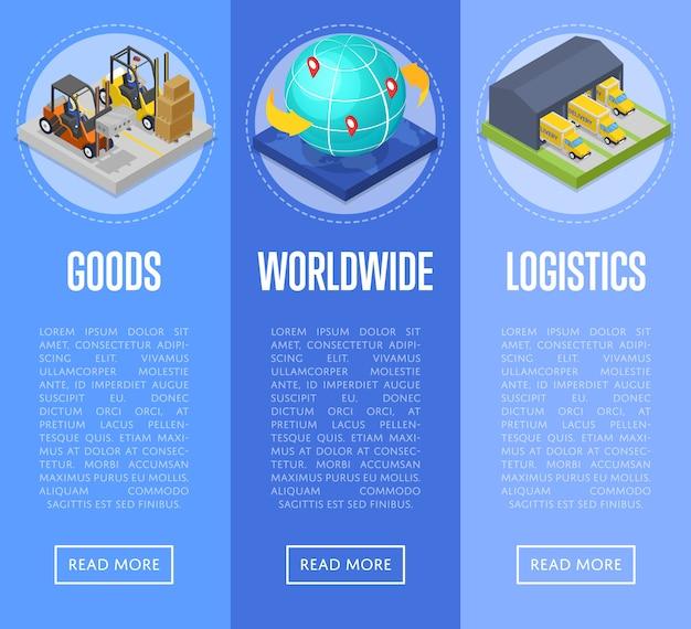 Conjunto de web de banner de envío y entrega de productos en todo el mundo