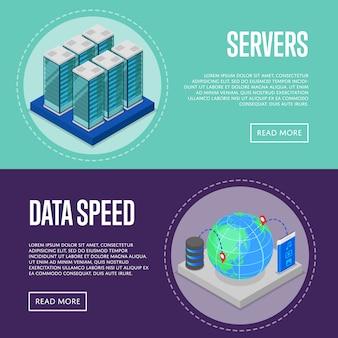 Conjunto de web de banner de servicio de comunicación de alta velocidad