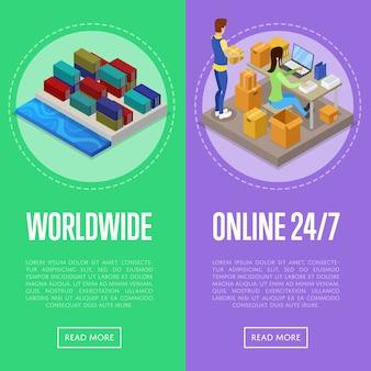 Conjunto de web de banner de servicio de envío y entrega en todo el mundo