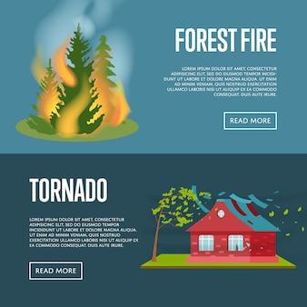 Conjunto de web de banners de tornado y fuego forestal.