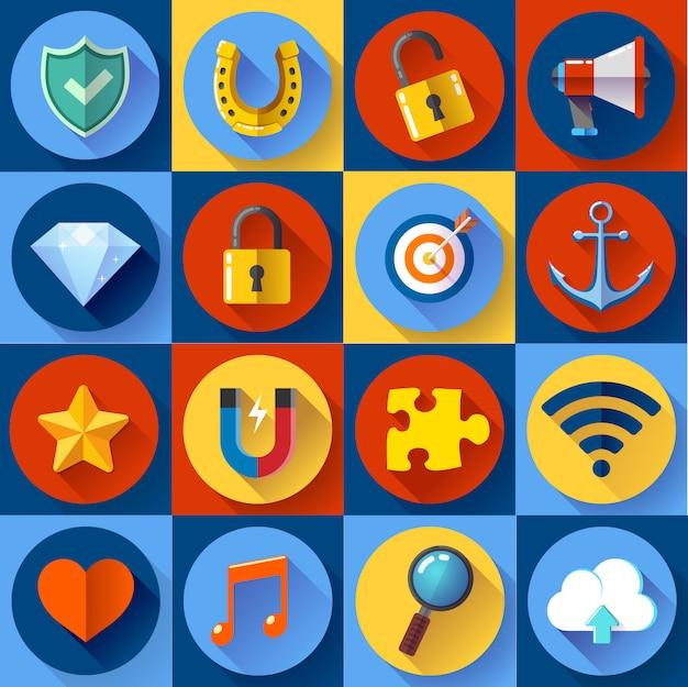 Conjunto de web plana moderna. seo, desarrollo, seguridad, internet y música