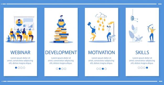 Conjunto webinar, desarrollo, motivación, habilidades.