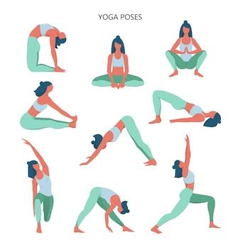 Conjunto de yoga. colección de asanas para el cuerpo