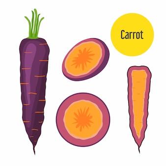 Conjunto de zanahoria morada.