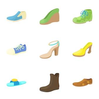 Conjunto de zapatos, estilo de dibujos animados