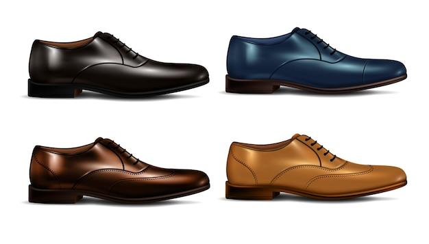 Conjunto de zapatos de hombre de color realista.