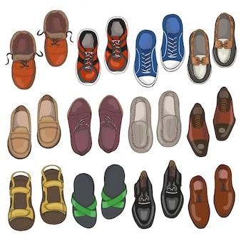 Conjunto de zapatos de los hombres