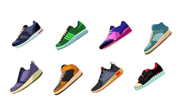 Conjunto de zapatos y zapatillas deportivas.