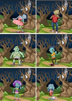 Conjunto de zombie en la noche