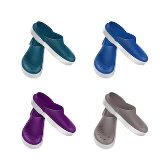 Conjunto de zuecos de calzado médico de color gris azul verde púrpura aislado sobre fondo blanco.