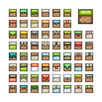 Conjuntos de azulejos 2d para videojuegos.