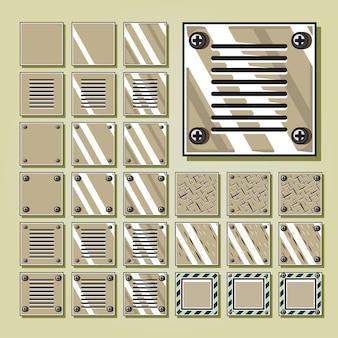 Conjuntos de azulejos del desierto militar marrón para videojuegos