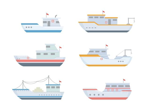 Conjuntos de barcos de pesca con varios tamaños y formas con estilo moderno y plano