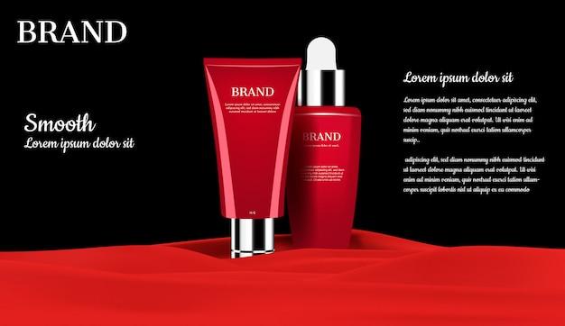 Conjuntos de cosmética sobre franela roja.